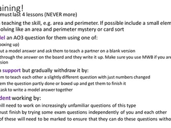 WJEC AO3 exam practice - Area and Perimeter