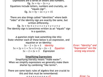 Spot The Mistakes - Expressions and Equations