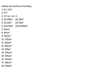 Volume and Surface Area Relay