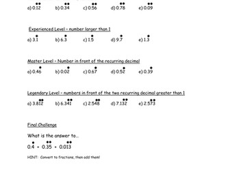 recurring decimals to fractions worksheet by samfletch  teaching  recurring decimals to fractions worksheet by samfletch  teaching  resources  tes