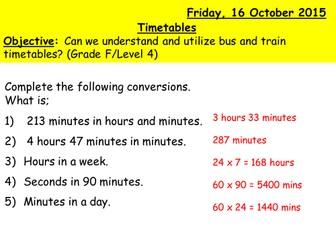 Reading Timetables (Level 4, Grade F)