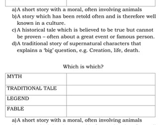 Traditional tales, myths legends fables starter