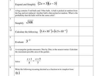 Y11 Homework Sheets (B-A* Grade)