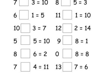 Missing Symbols (+ and -) Worksheets
