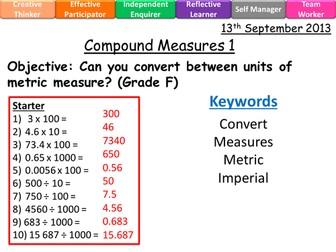 Compound Measures Lessons level 4-8 F-B