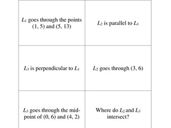 Equations of Line - Puzzle Cards