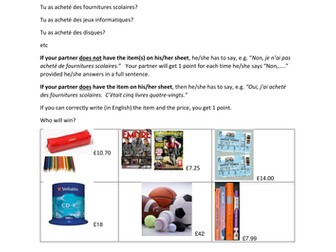 pocket money and perfect tense, prices