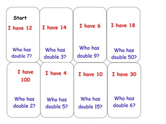 Double Loop cards: KS1 Math doubling activity