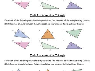 Trigonometry - Area of a Triangle Grade A