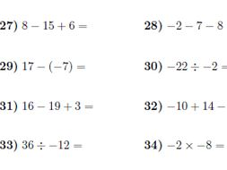 Operations with positive and negative numbers worksheet no 2 (with ...