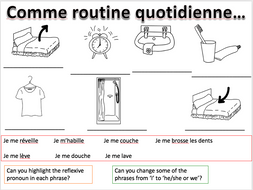 Daily routine reflexive verbs - Expo 3 Module 1 - Differentiated lesson