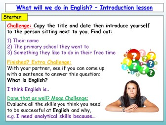 Back To School - Back To School English Introduction Lesson