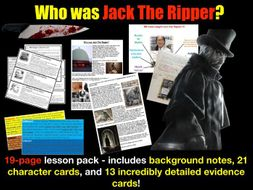 Jack the Ripper - 19-page full lesson (notes, character cards, card sort, grid)