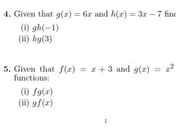 Composite Functions Worksheet With