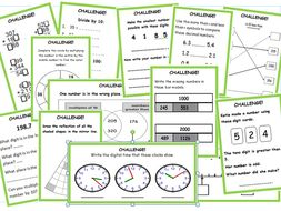 Y3/4 maths challenges and answers