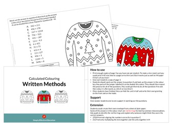Christmas Calculated Colouring (Written Methods)