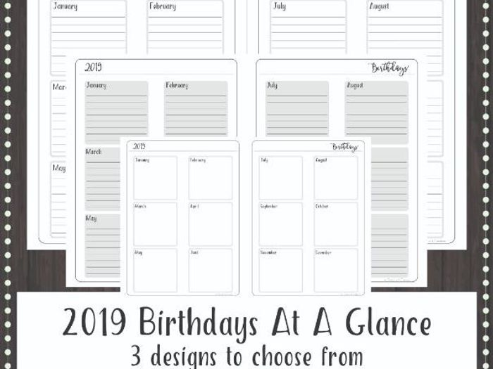 graphic relating to Teacher Binder Printables titled 2019 BIRTHDAYS On a yearly basis At A Search Planner Incorporate or Instructor Binder Web site