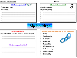 English- Holiday recount planning sheets & self-assessment