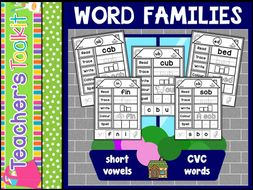 CVC Word Family Houses Activity Worksheets