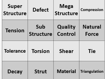 Structures Keyword Bingo