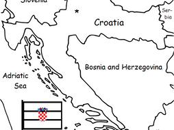 CROATIA  - printable handout with map and flag