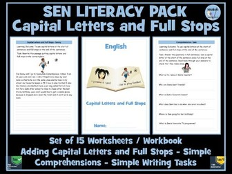 SEN Literacy Pack : Fulls Stops, Capital Letters, Simple Comprehensions