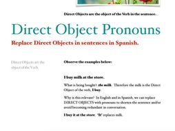 Direct Objects Worksheet (for English)