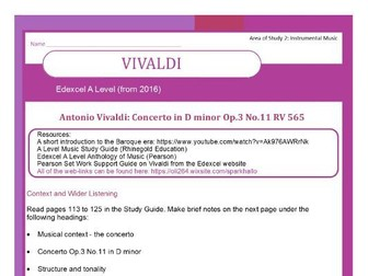 Edexcel Music A Level (from 2016) Vivaldi (includes context and wider listening)