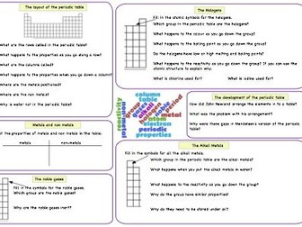 Periodic table revision worksheet