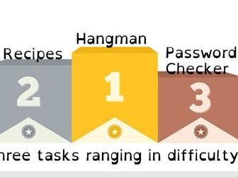 OCR NEA J276 Programming Practise - Three Tasks - Differentiated