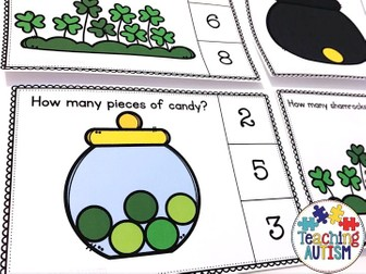 Counting Task Cards, St Patrick's Day