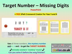 target number missing digits powerpoint free spag crossword