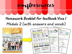KS3 Spanish - Homework booklet for Viva 1 - Módulo 2 (with answers)