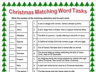 Christmas Match Words Activity Print and Go