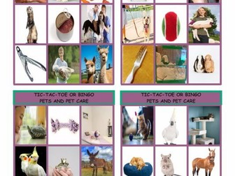 Pets and Pet Care Tic-Tac-Toe or Bingo