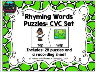Rhyming Words Puzzles: CVC Set
