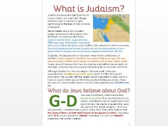 What is Judaism? An Introduction: Differentiated Task Sheets