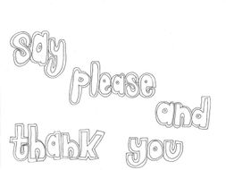 Say please and thank you classroom rules colouring page for Classroom rules coloring pages
