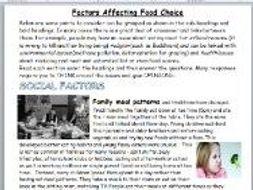 Factors Affecting Food Choice