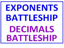 Exponents Battleship PLUS Decimals Battleship (Both Sets)