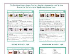 Houses-Rooms-Furniture Read-Converse-Write Interactive Worksheets for Google Apps