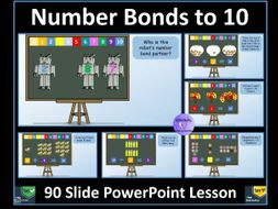 Number Bonds to 10 : PowerPoint Lesson (90 slides)