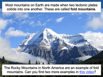 Understanding how fold mountains are formed - KS2
