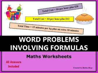 Word problems involving formulas
