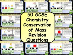 £1 ONLY: 50 GCSE Chemistry (Science) Conservation of Mass Calculation Revision Questions