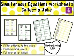 Simultaneous Equations Worksheets Collect a Joke