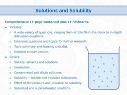 Solutions and Solubility [Worksheet and Flashcards]