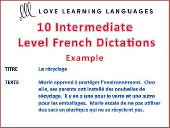 GCSE FRENCH: 10 Intermediate Level French Dictées