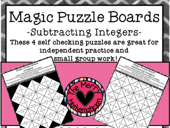 Subtracting Integers Magic Puzzle Boards