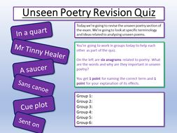 Unseen Poetry Revision Quiz